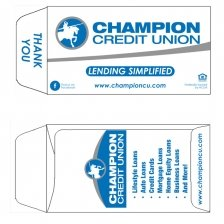 Champion Credit Union Coin Envelope